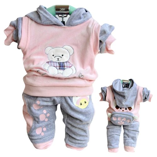 TKC Cute Baby Girls Outfits Velvet Bear 2 Side Wear Casual Clothes 12-24M Pink