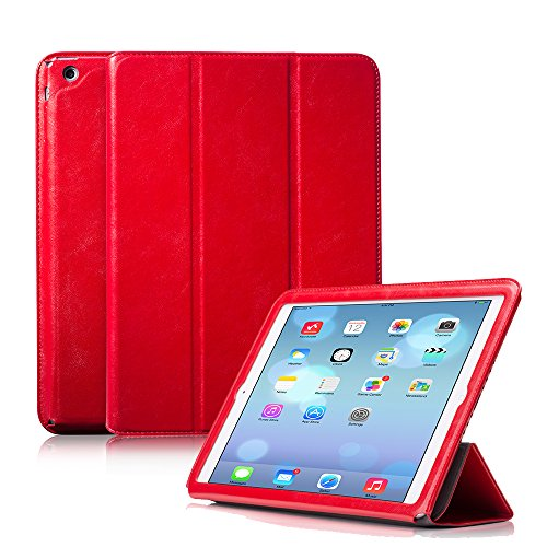Ivapo Luxury Vintage Multiple Angle Vision Stand Function Flip Cover Case With Auto Wake/Sleep Feature For Ipad Air/5 (Mm471) (Red)