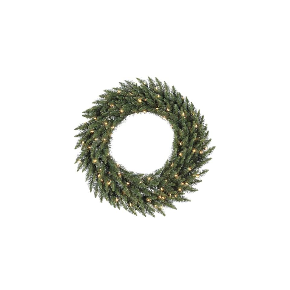 36 Pre Lit Camdon Fir Artificial Christmas Wreath   Warm Clear LED Lights