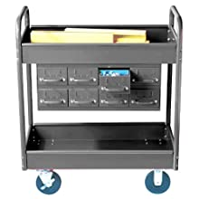 "Equipto 145-8-GY Combination Truck with 2 Trays, 500lbs Capacity, 11"" Drawers, 30"" L x 16"" W x 36"" H, Smooth Office Gray"