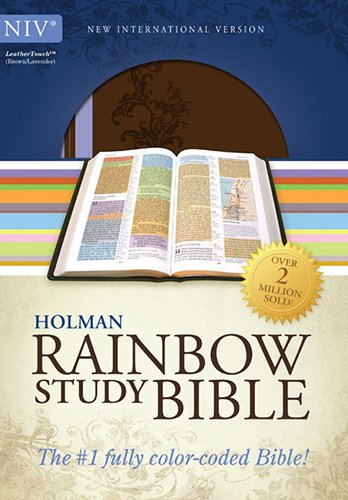 NIV Rainbow Study Bible, Brown/Lavender LeatherTouch (Color Coded Bible compare prices)