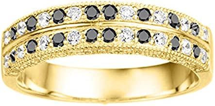 Silver Vintage Filigree Millgrained Wedding Band with Black And White Diamonds 031 ct twt