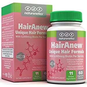 HairAnew (Unique Hair Growth Vitamins with Biotin) - Tested - For Hair, Skin & Nails - Women & Men - Addresses Vitamin Deficiencies That Could Be The Cause of Hair Loss / Lack of Regrowth * 60 VCaps