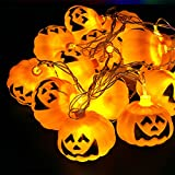 WELOVE Battery Powered 3D Jack-O-Lantern Pumpkin 16 LED String Lights Halloween Decoration Lights 9.8ft/3meters for Indoor/Covered Outdoor/Cosplay/Halloween Parties & Home Decorations