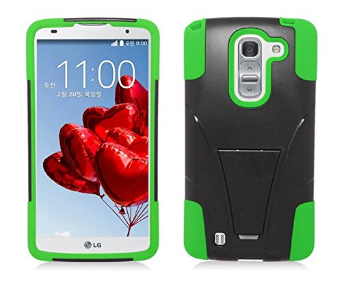 Lg G Vista Vs880 / D631 (Verizon / At&T) - Black & Neon Green Dual Layer Impact Defender Shockproof Armor Kickstand Cover Case + Atom Led Keychain Light