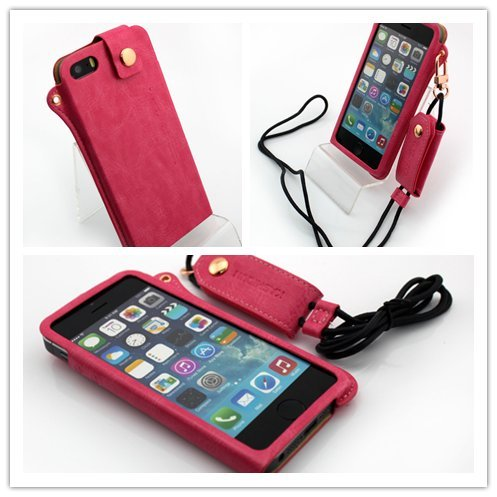 Nine States Ultra-Thin Pu Leather Back Cover Protection Shell High-End Business Type Case For Iphone 5 5G With Earphone Smart Cord Wrap & Hanging Neck Strap Color Varies Plum
