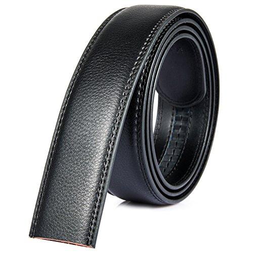 Katusis Mens Black Ratchet Belt Fashion Business Casual Style Genuine Leather No Buckle 3.5cm Width (1)