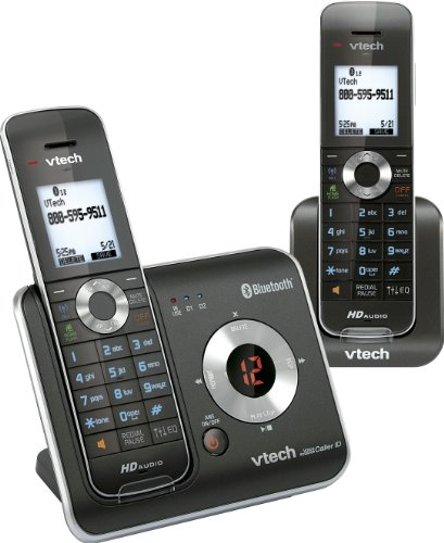 Vtech DECT DS6421-2 6.0 2-Handset Expandable Cordless Phone System with Digital Answering Machine, HD Audio, Handset Speakerphones and Bluetooth