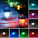 EVELTEK Solar floating pool light,Solar Powered LED Night Light Lamp ball for Swimming Pool,Garden and Party Decor Outdoor Waterproof Pond Path Landscape lights,Charges also On Cloudy Days Colorful