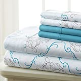 Spirit Linen Hotel 5Th Ave Prestige Home Collection 6 Piece Sheet Set, Queen, Turquoise Medallion