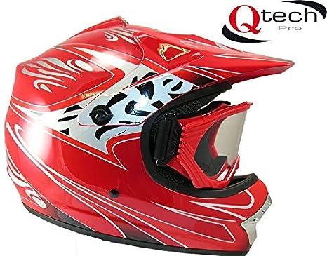Casque et lunettes protectrices de moto-cross - BMX/tout-terrain - enfant - 7 coloris - Rouge - XS (51-52 cm)