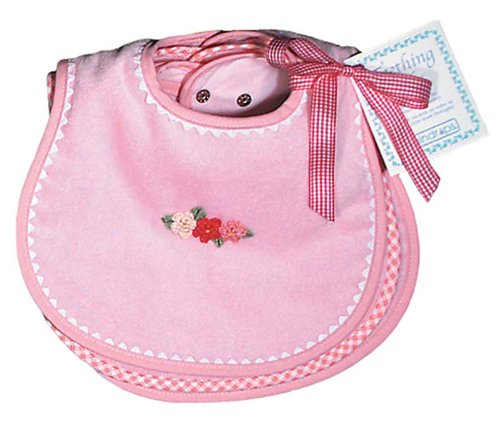 Raindrops Solid Pastel Teething Bib Set, Pink