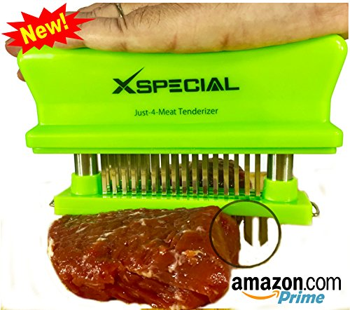 X-Special Just-4-Meat Tenderizer [Try It Now!Taste The Tenderness] Best for Steak Beef Pork Chicken - Chef Kitchen Handheld Tool For Tenderizing - Set 1 Stainless Steel 48 Blade Tenderizers (Green) (Anyone Can Cook In A Slow Cooker compare prices)