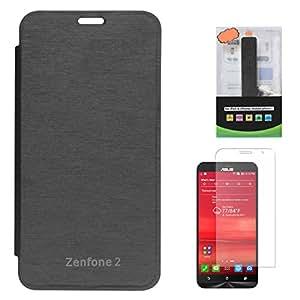 DMG Durable Snap On Flip Cover Protector Case for Asus Zenfone 2 (Black) + 2600 mAh PowerBank + Screen Guard