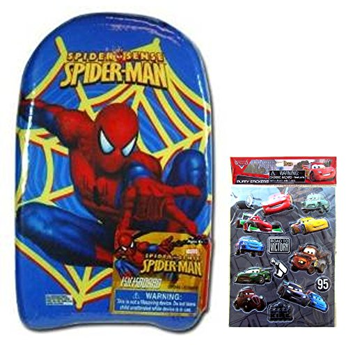 """Spiderman Kickboard (17.5""""X9.5"""") And Pixar Cars Sticker - Marvel Heroes Spiderman Kicboards Are Great Swim Aids For Kids And Boys, And Great Beach Or Pool Toys For Kids And Boys"""