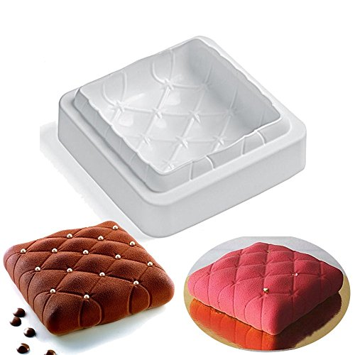 Square Pillow Design Silicone Mousse Cake Mould Soap Mold Silicone Flexible For Mousse Cake Custard Pudding Brownie Breads Ice Cream (Odorless Deep Fryer compare prices)