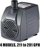 PonicsPump PP29105: 291 GPH Submersible Pump with 5' Cord - 16W... for Hydroponics, Aquaponics, Fountains, Ponds, Statuary, Aquariums & more. Comes with 1 year limited warranty.