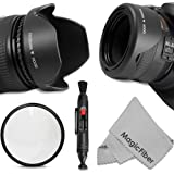 58MM Accessory Kit for CANON REBEL (T5i T4i T3i T3 T2i T1i XT XTi XSi SL1), CANON EOS (700D 650D 600D 1100D 550D 500D 100D) - Includes: Tulip Lens Hood + Collapsible Rubber Lens Hood + UV Lens Filter + Lens Cleaning Pen + MagicFiber Microfiber Lens Cleaning Cloth