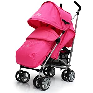 Zeta Vooom Stroller Complete with Foot Muff and Raincover (Pink Hearts and Stars) from Zeta