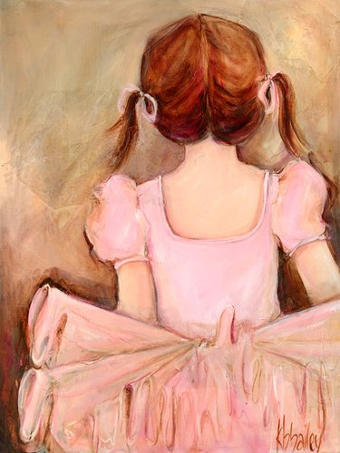 Oopsy Daisy Sweet Ballerina- Brunette Stretched Canvas Wall Art by Kristina Bass-bailey, 18 by 24-Inch
