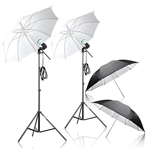 Emart 1050W 5500K Photo Studio Day Light Umbrella Continuous Lighting Kit (Translucent White & Black/silver) for Photography (Photography Backdrop Starter Kit compare prices)