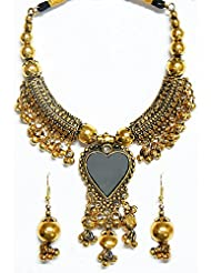 DollsofIndia Oxidised Metal Golden Necklace With Heart Pendant And Earrings - White Metal - Golden