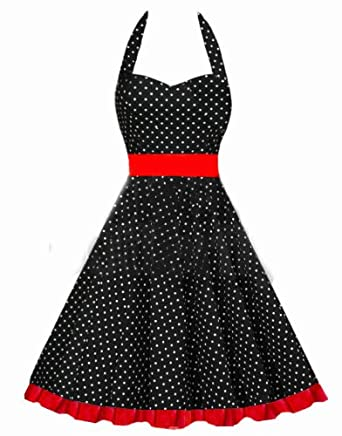 Polka  Dress on Vintage Pin Up Swing Polka Dot Evening Dress  Amazon Co Uk  Clothing