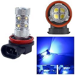 See 2Pcs H8 60W Ultra Bright Blue Light Cree LED Bulb For Car Fog Lamp Details