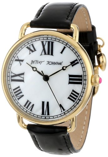 Betsey Johnson Women's BJ00032-02 Analog Patent Leather Strap Watch