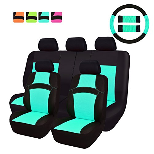 NEW ARRIVAL- CAR PASS RAINBOW Universal Fit Car Seat Cover -100% Breathable With 5mm Composite Sponge Inside,Airbag Compatible(14PCS, Mint Blue) (Honda Universal Cars Seat Covers compare prices)