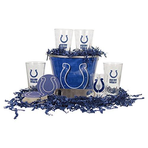 NFL Team Gift Bucket Set (Pint Glasses, Bucket, Shot Glasses, & Bottle Opener) (Indianapolis Colts)