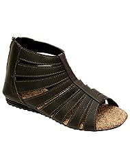 Remson India Women's Black Faux Leather Sandals - B0144M6IR8