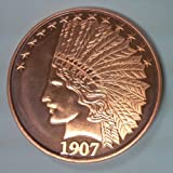 1 - 1 Ounce Copper Round $10 1907 Indian Full Eagle Design Copper Uncirculated