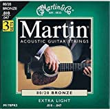 Martin 80/20 Bronze Acoustic Guitar Strings - Extra Light (Pack of 3)