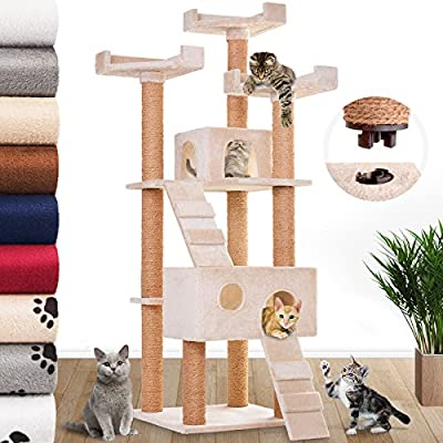 Leopet Cat Tree Scratching Post for Playing Activity Centre Scratcher Toy Play Tower Climbing Furniture with Caves and Houses in Different Colours