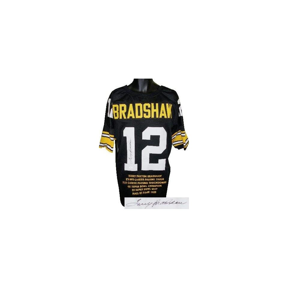 8ca5a29e722 Terry Bradshaw Signed Uniform Black Prostyle w Embroidered Stats JSA  Hologram Autographed NFL Jerseys