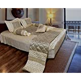 Generic Satin Double Bed Bedding Wedding Set ( Set Of 8 Pcs) 1 Bedsheet:: 2 Pillow Cover:: 2 Filled Cushion:: 2 Filled Bolsters:: 1 AC Comforter