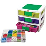 IRIS LEGO Friends 3-Drawer Sorting System with Large Building Base Plate and 4 Removable Divider Trays