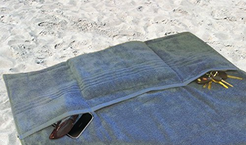 New Blue Large Beach Towel With Pillow & Pockets - 7' Feet Long! front-1014899