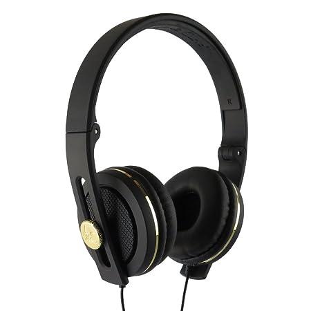 Angle & Curve Casque audio avec microphone carboncans-Noir/Doré métallique