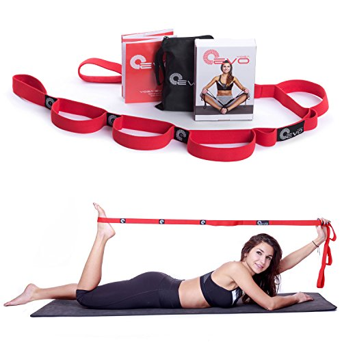 Stretching Strap with Loops + eBook & 35 Online Stretch Video Exercises and Pilates Workouts by Yoga EVO (Red)