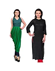 Cenizas Women's Cotton Black Kurtas Pack Of 2 ( 9038BLK & 9035GRN)