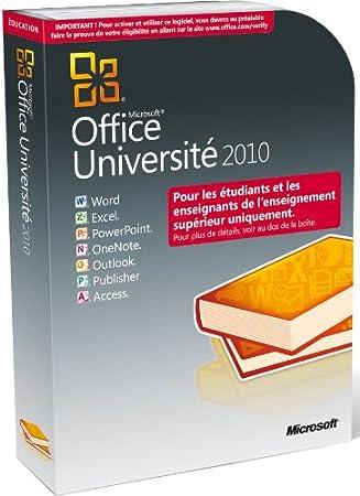 Office Université 2010 (version professionnelle réservée aux étudiants et enseignants de l'enseignement supérieur)