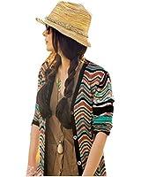 NO:1 Chapeau de soleil paille Bohême Style élégant Femmes été Plage Voyage Disquette Chapeau à large bord Colorful