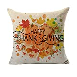 4TH Emotion Happy Thanksgiving Autumn Leaves Fall Home Decor Design Throw Pillow Cover Pillow Case 18 x 18 Inch Cotton Linen for Sofa
