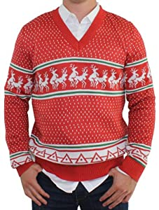 Ugly Christmas Sweater - Reindeer Conga Line V-Neck (Red) by Tipsy Elves