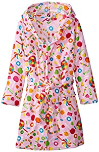 Up Past 8 Little Girls'  Fuzzy Hooded Robe, Candy Land, Medium/6/7