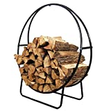 Sunnydaze 40-Inch Steel Firewood Log Hoop w/ Cover