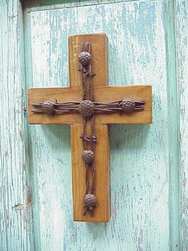 Old Door Barbed Wire Cross