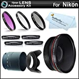 Essential Lens Kit For The Nikon Coolpix P510 Digital Camera Includes Necessary Tube Adapter (72mm) + 72mm HD...